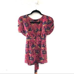 Floral Print Tie back button up blouse